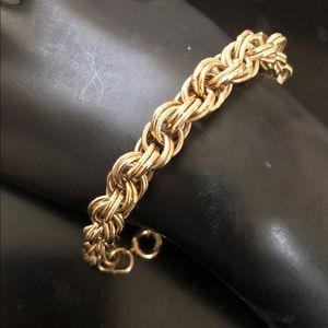 Trifari twisted multiple chain brass bracelet vtg